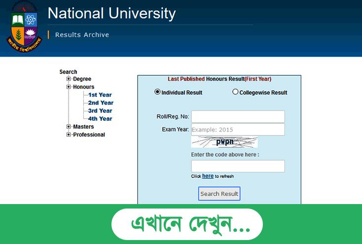 National University Masters 1st Year Result 2017 - www.nu.edu.bd